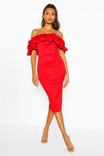 Red Puff Ruffle Bardot Midi Dress