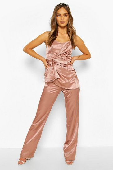Rose Boohoo Occasion Satin Bandeau Bow Jumpsuit