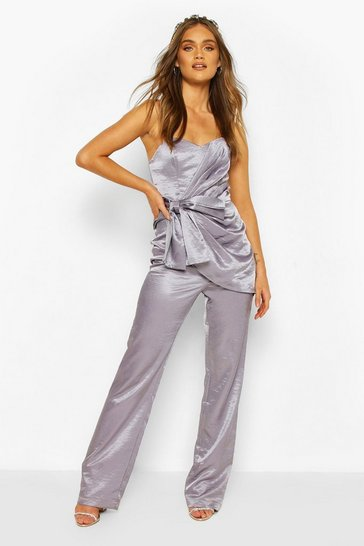 Silver grey Boohoo Occasion Satin Bandeau Bow Jumpsuit