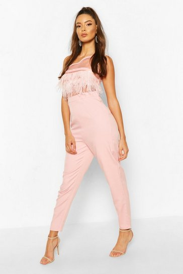 Soft pink One Shoulder Panelled Feather Trim Jumpsuit