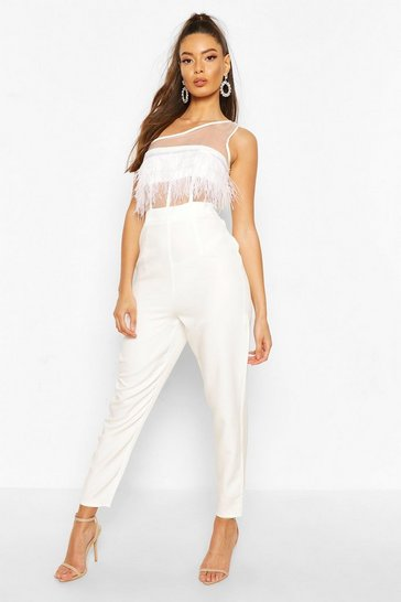 White One Shoulder Panelled Feather Trim Jumpsuit