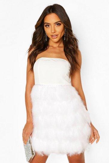 White Bandeau Feather Skirt Mini Dress