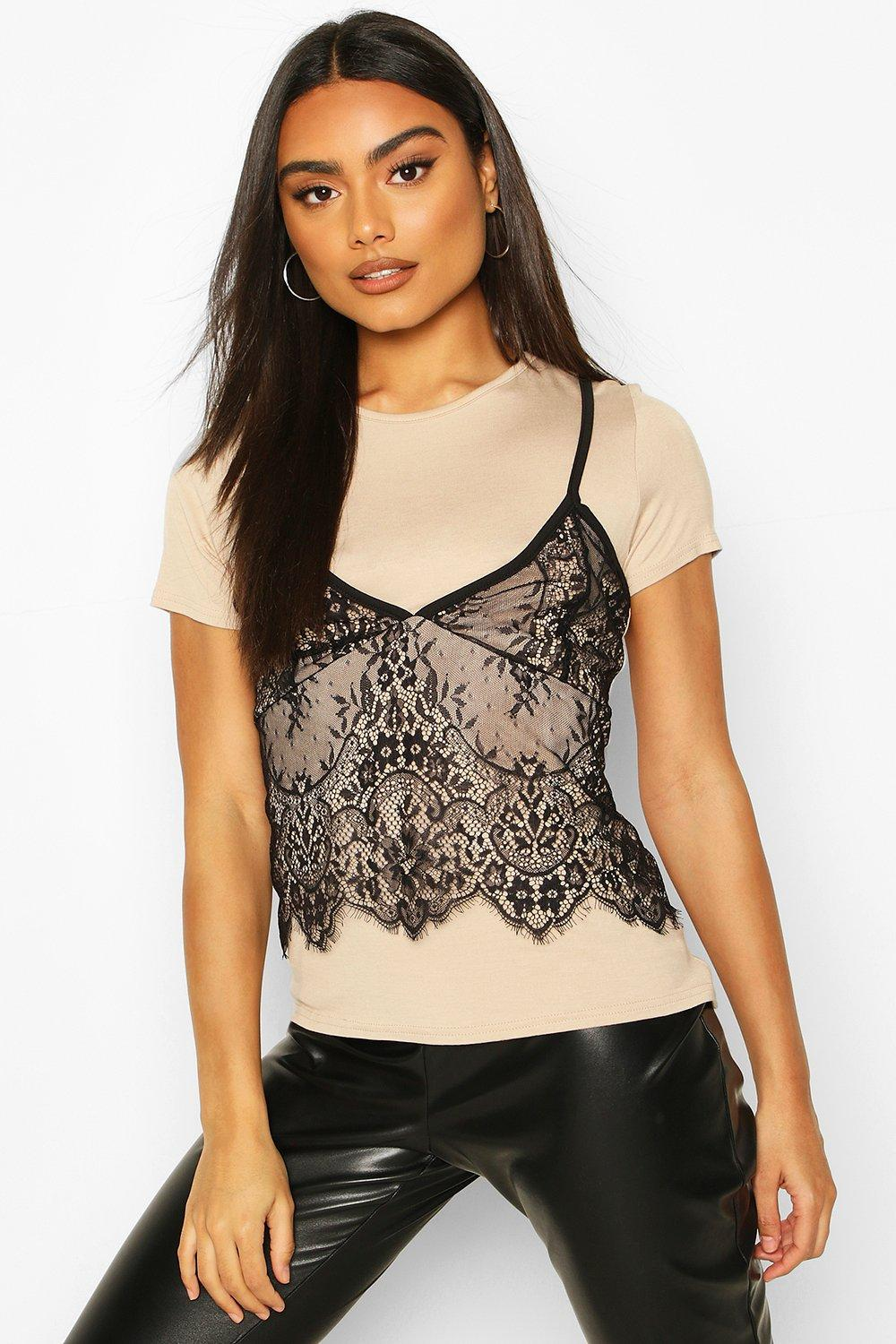 Womens 2 In 1 T-Shirt & Lace Cami - stone - 34, Stone - Boohoo.com