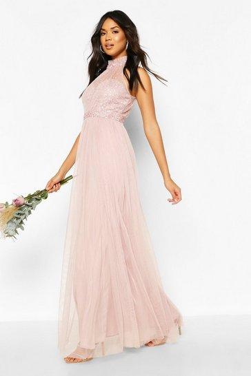 Pink Occasion Hand Embellished Mesh Halterneck Maxi Dress