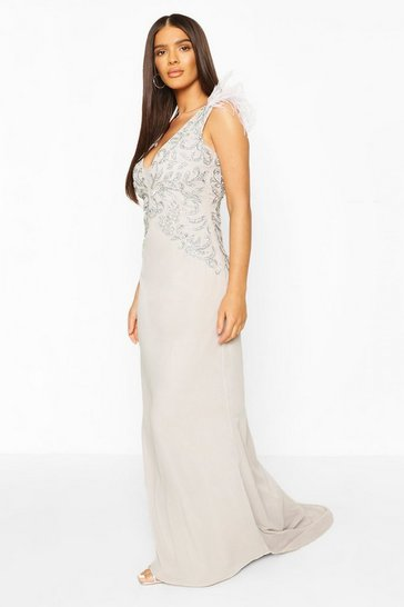 Grey Occasion Hand Embellished Feather Maxi Dress