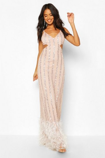 Nude Occasion Hand Embellished Tassle Hem Maxi Dress