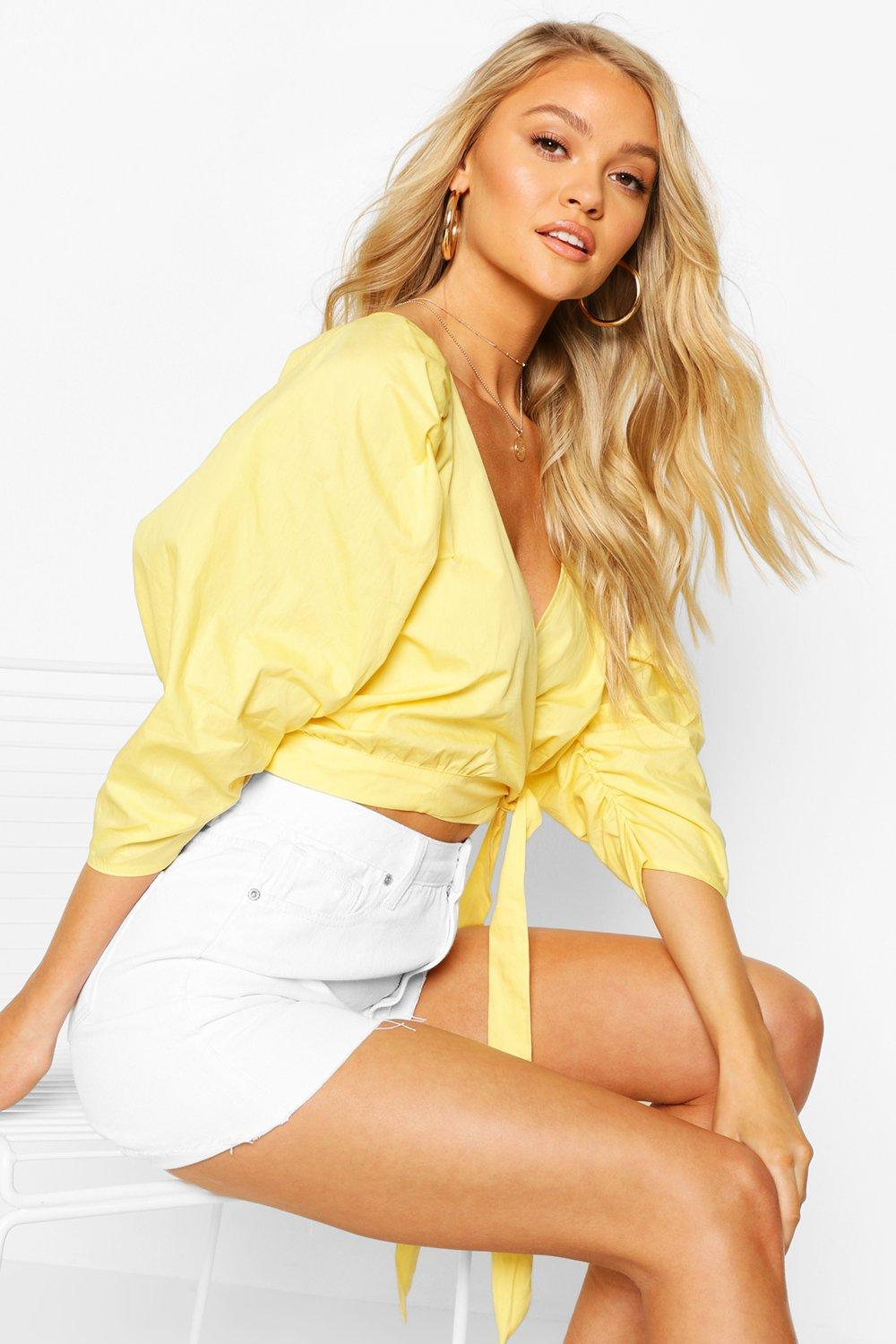 boohoo Womens Woven Puff Sleeve Wrap Front Blouse - Yellow - 16, Yellow