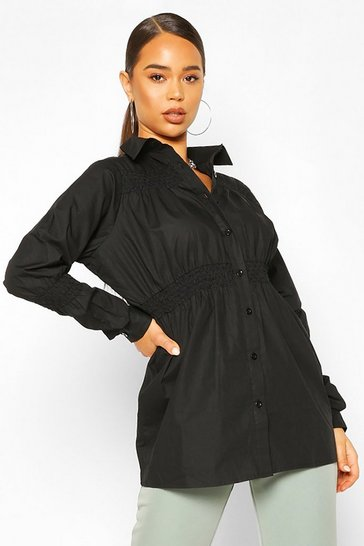 Black Cotton Shirring Detail Shirt