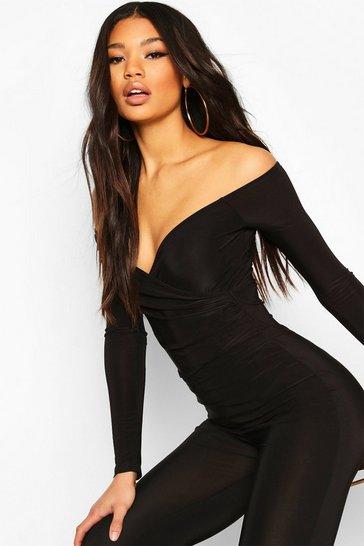 Black Off The Shoulder Wrap Bodysuit