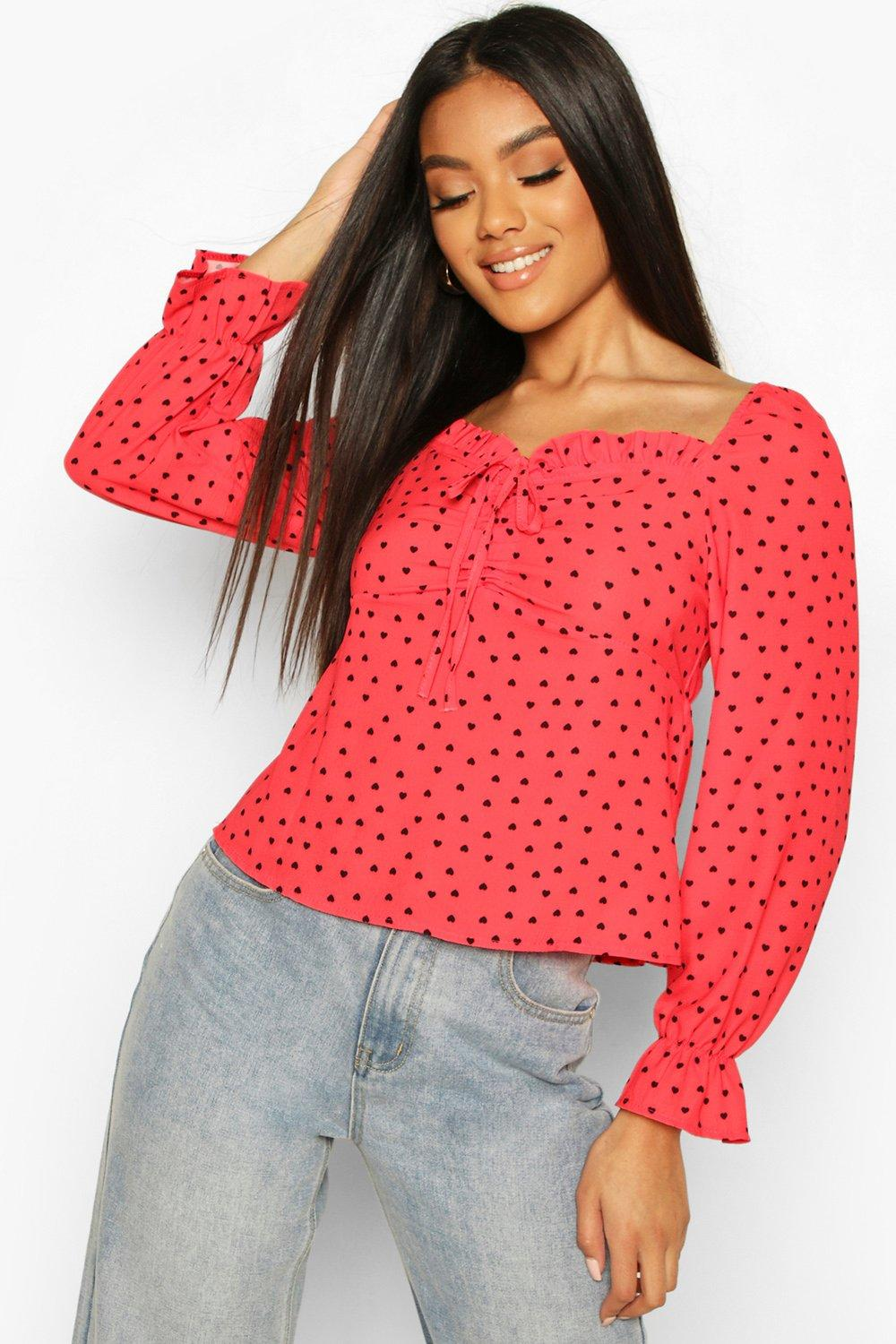 Womens Bluse Mit Herzmuster - Rot - 40, Rot - Boohoo.com