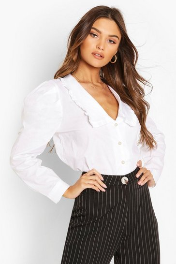 White Pearl Button Collar Cotton Mix Shirt