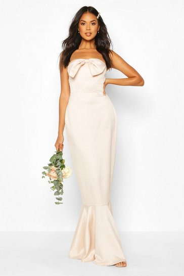 Champagne Bridesmaid Satin Bow Front Fishtail Maxi Dress