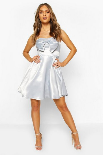 Grey Occasion Satin Bow Detail Skater Dress