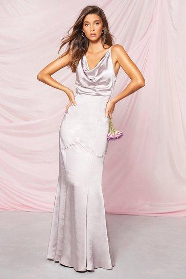 Silver Occasion Satin Cowl Rouche Back Maxi Dress