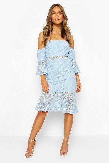 Cornflower blue Occasion Heavy Lace Bardot Frill Midi
