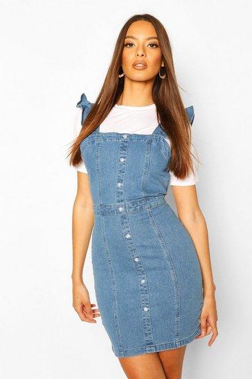 Mid blue Ruffle Strap Button Denim Dress