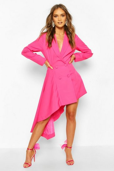 Hot pink Boohoo Occasion Double Breasted Blazer Dress