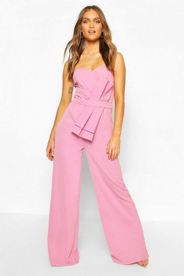 Lilac Boohoo Occasion Bandeau Bow Culotte Jumpsuit