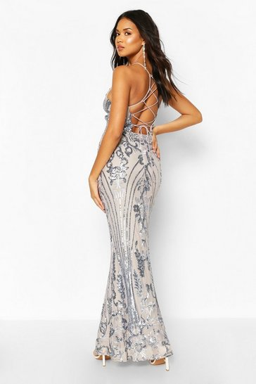 Grey Occasion Sequin Lace Up Back Maxi Dress