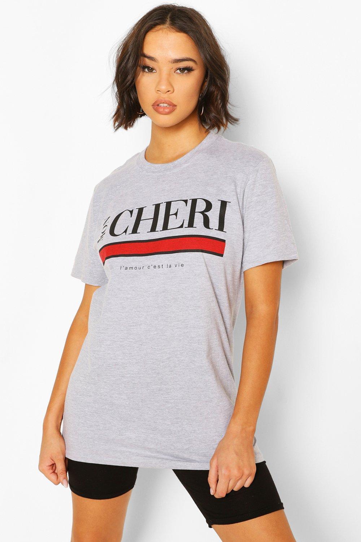 boohoo Womens Mon Cherie Slogan T-Shirt - Grey - L, Grey