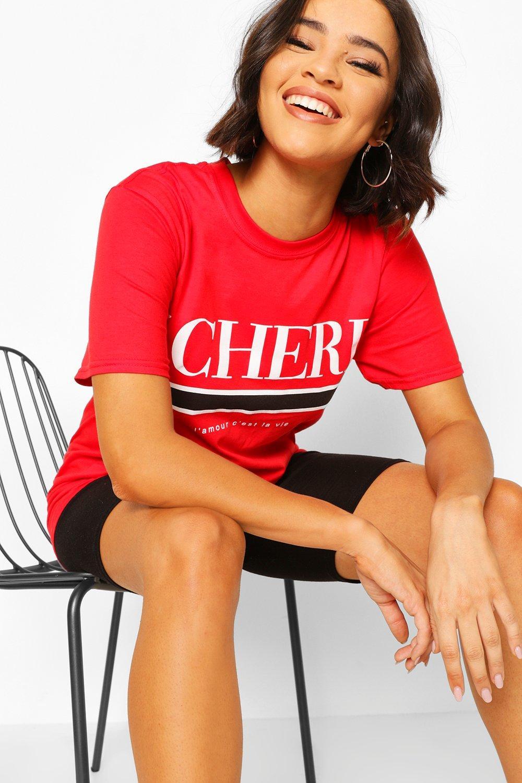 boohoo Womens Mon Cherie Slogan T-Shirt - Red - Xl, Red