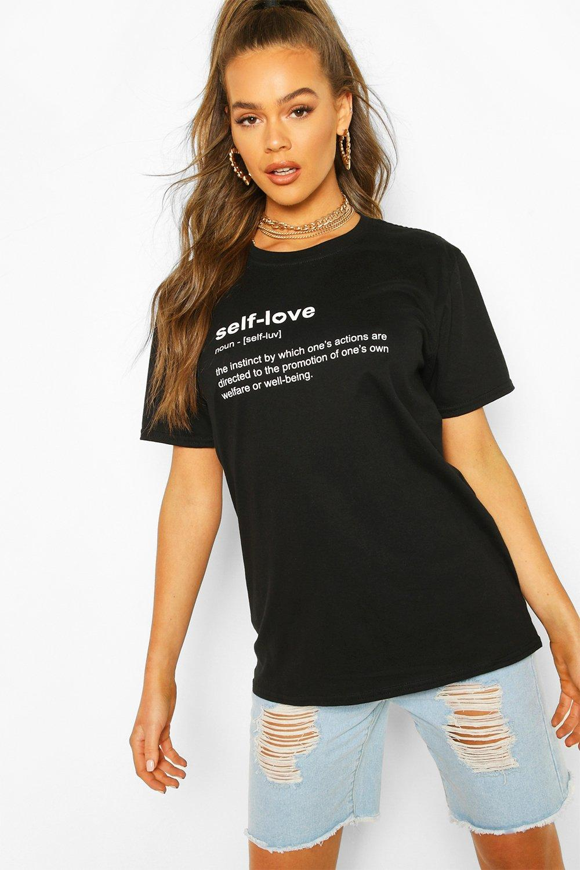 """Womens T-Shirt mit """"Self Love""""-Slogan - schwarz - S, Schwarz - Boohoo.com"""
