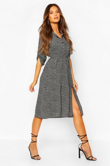 Brown Leopard Split Midi Shirt Dress