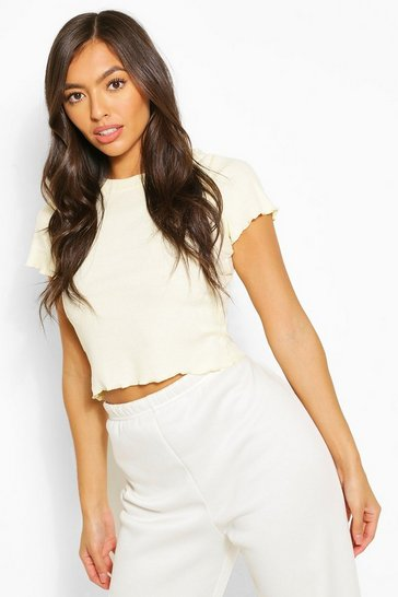 Cream Lettuce Frill Cropped Tee