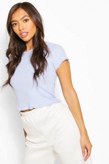 Lavender Lettuce Frill Cropped Tee