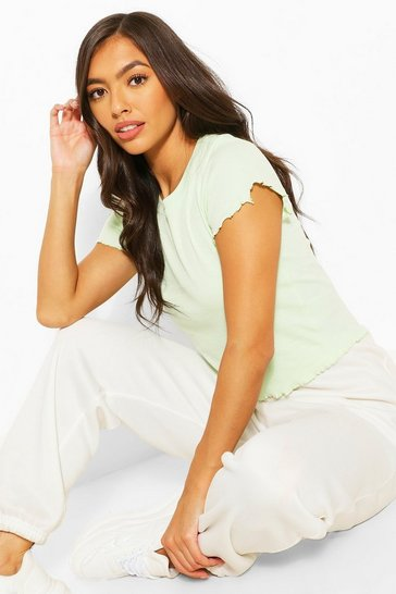 Pistachio Lettuce Frill Cropped Tee