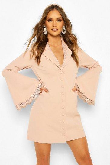 Blush Boohoo Occasion Lace Detail Button Blazer Dress