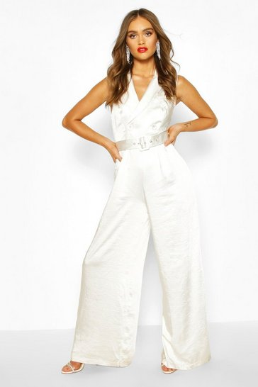 White Boohoo Occasion Satin Double Breasted Jumpsuit