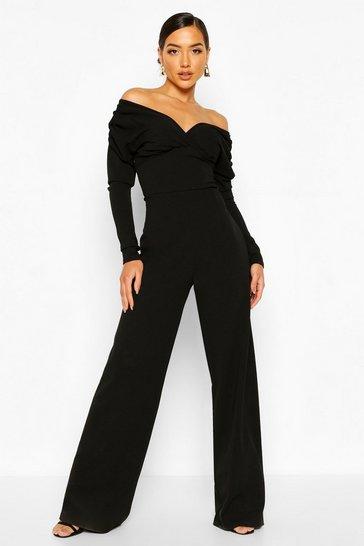 Black Bardot Ruched Sleeve Detail Wide Leg Jumpsuit