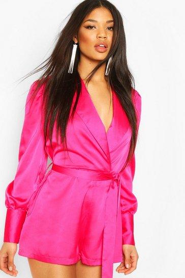 Hot pink Wrap Tailored Satin Playsuit