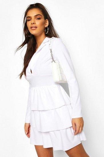 White Tiered Ruffle Blazer Dress