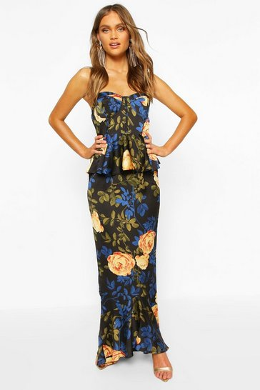 Black Satin Floral Cupped Peplum Maxi Dress
