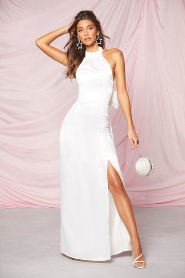 Ivory Occasion Satin High Neck Bow Back Maxi Dress