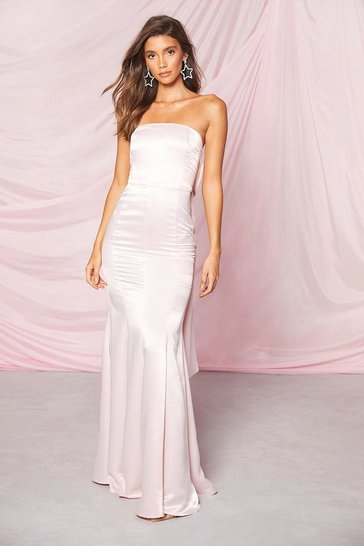 Soft pink Occasion Satin Bow Back Maxi Dress
