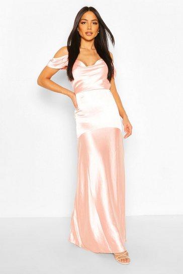 Blush Occasion Satin Cowl Peplum Hem Maxi Dress