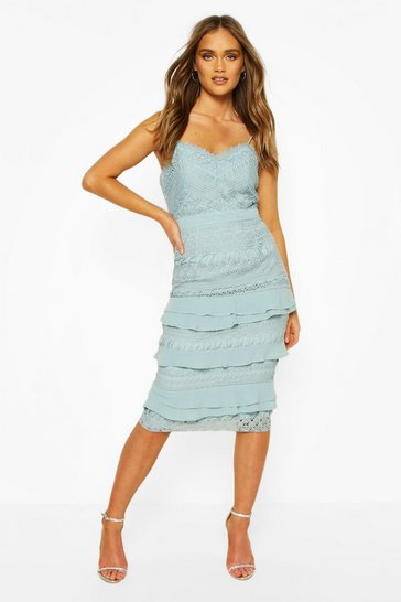Pastel blue Boohoo Occasion Heavy Lace Ruffle Detail Midi