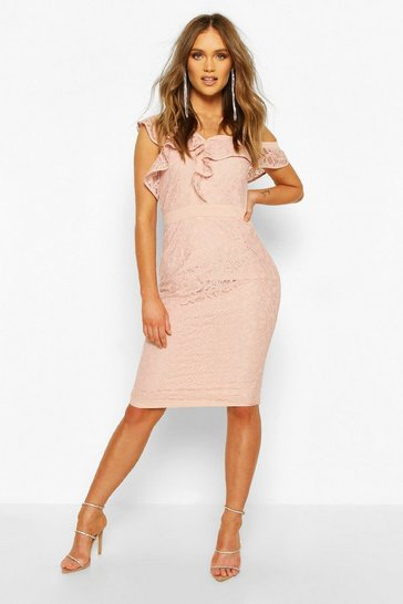 Soft pink Occasion Heavy Lace Ruffle One Shoulder Midi