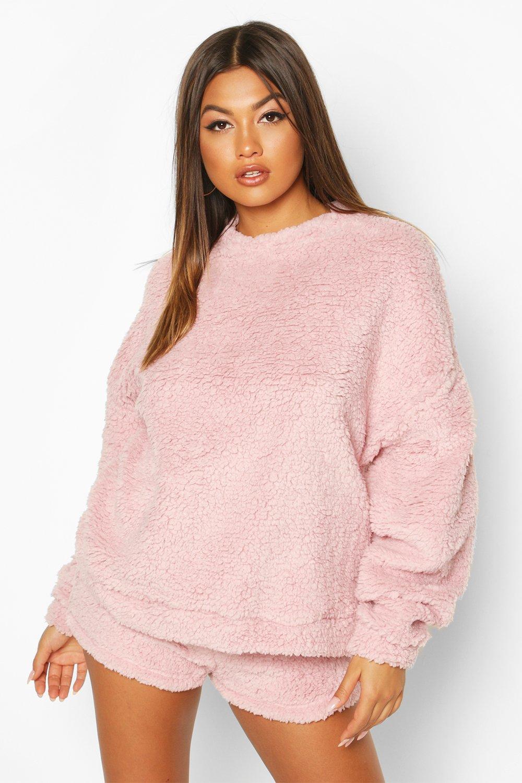 Womens Borg Oversized Sweatshirt - pastel pink - 32, Pastel Pink - Boohoo.com