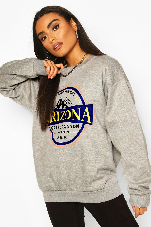 boohoo Womens Arizona Slogan Washed Oversized Sweat - Grey - Xl, Grey