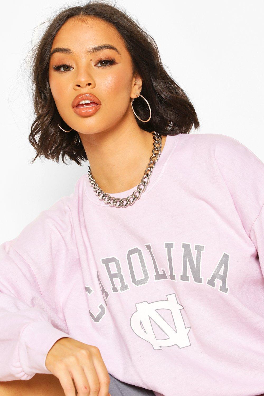 Womens Carolina Slogan Washed Oversized Sweat - light pink - S, Light Pink - Boohoo.com