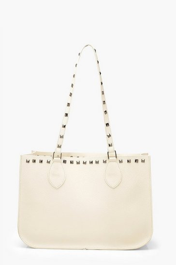 Cream Stud Detail Tote Bag