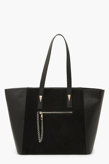 Black Suedette & PU Tote Bag With Chain Trim Detail