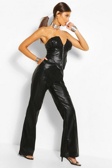 Black Faux Leather Wide Leg Trouser