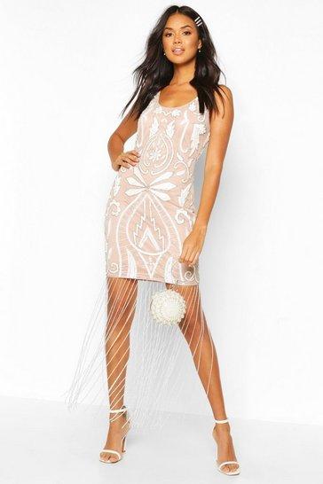 Nude Bridesmaid Hand Embellished Tassle Hem Maxi
