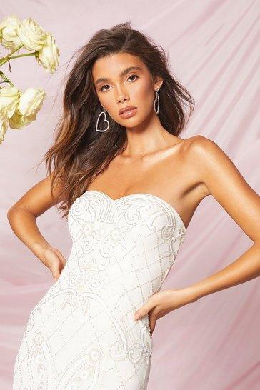 Ivory Bridesmaid Bandeau Hand Embellished Maxi Dress