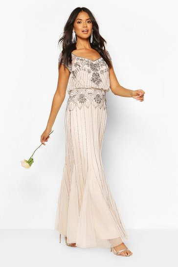 Mink Bridesmaid Hand Embellished Maxi Dress